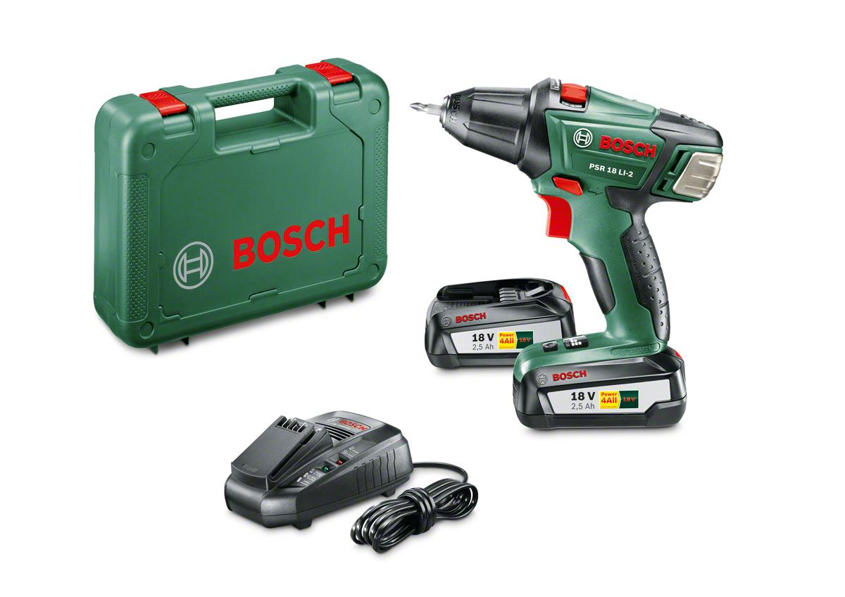 Bosch PSR 18 LI-2 - Taladro atornillador (2 baterías, cargador, punta de atornillar doble, maletín de transporte, sistema de 18 V, 2.5 Ah)