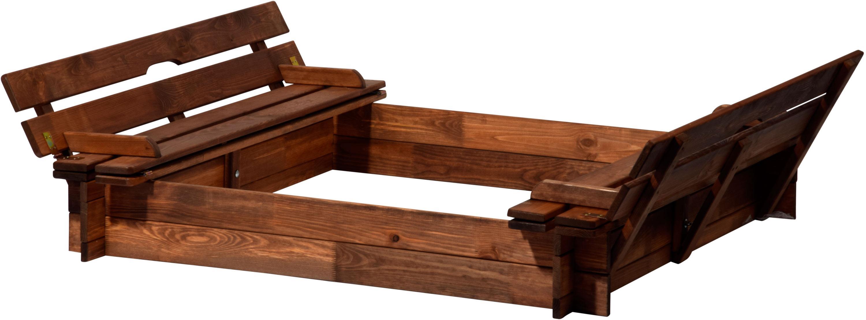 dobar 94360fsc sandkasten holz mit deckel mit sitzbank sandkiste bank gro xl viereckig mit. Black Bedroom Furniture Sets. Home Design Ideas