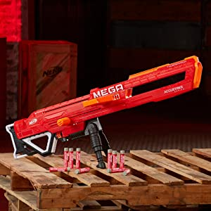 Thunderhawk Nerf AccuStrike Mega Toy Blaster - Longest Nerf Blaster - 10 Official AccuStrike Nerf Mega Darts, 10-Dart Clip, Bipod - For Kids, Teens, ...