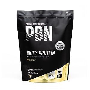 PBN Premium Body Nutrition Proteína de suero de leche en polvo, 1 kg, sabor vainilla, sabor optimizado