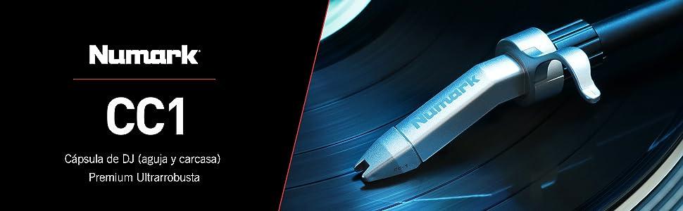 Numark CC-1 - Cápsula (Cabezal y Aguja) de DJ Premium Ultrarrobusta para Platos Giradiscos Perfecta para Mezclas y Scratch