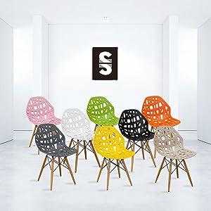 Mod Made Modern Stencil Cut Out Eiffel Dining Side Chair (Set of 2), Dark Grey