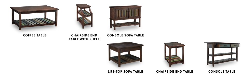 sofa tables, coffee tables, end tables, console tables, occasional tables
