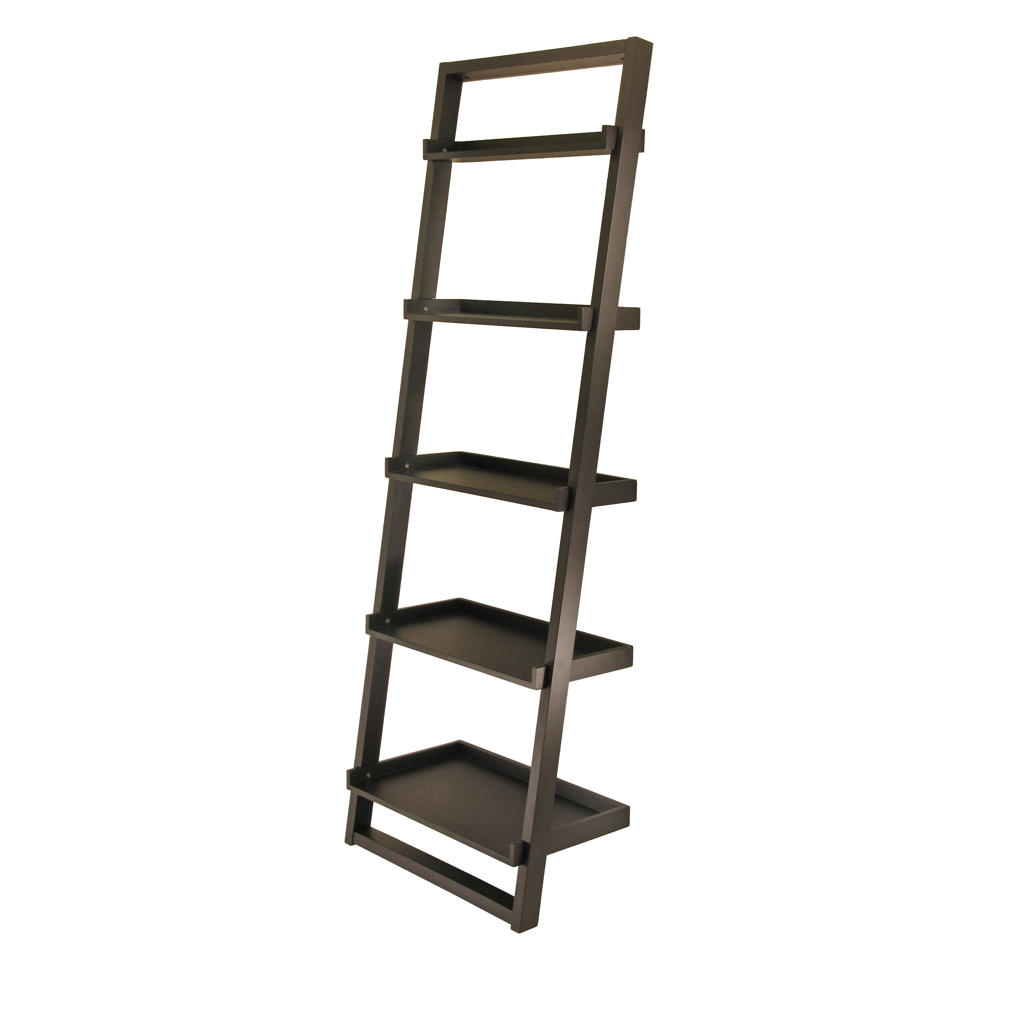 winsome wood bailey leaning 5 tier shelving unit black kitchen dining. Black Bedroom Furniture Sets. Home Design Ideas