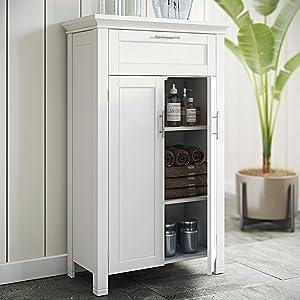 white two door floor cabinet