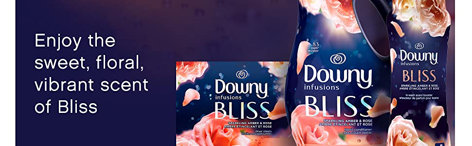 enjoy the sweet, floral, vibrant scent of bliss, downy infusions fabric conditioner, dryer sheets