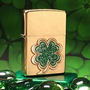 clover lighters, irish, irish lighter, zippo, zippo lighters, four leaf clover, high polish brass