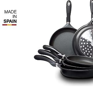Valira Black - Sartén Premium de 18 cm hecha en España, aluminio fundido con antiadherente reforzado, apta para inducción