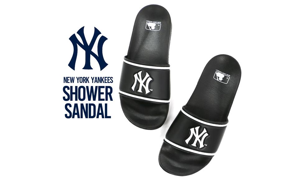 [メジャーリーグベースボール] NYヤンキース シャワーサンダル 6001 サンダル メンズ ネイビーホワイト S/M/L表示 L(26.5~27.0 cm)
