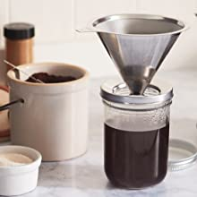 pour over coffee accessory; mason jar pour over coffee; pour over tea; stainless steel pour over