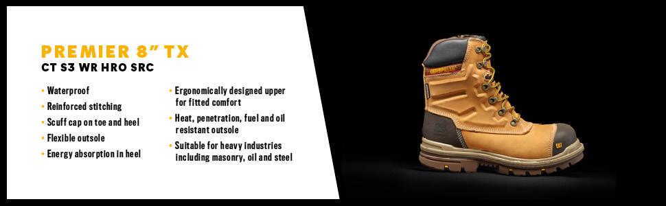 CAT Footwear Men's Premier 8 Inch Wr Tx Ct S3 HRO Src Safety Boots