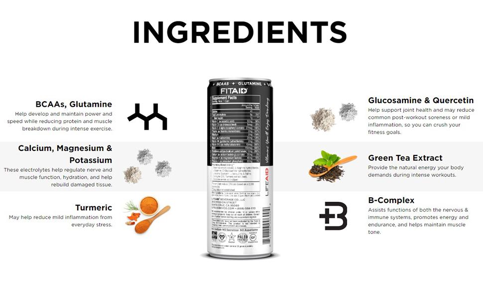 ingredients bcaa glutamine calcium turmeric b complex green tee extract