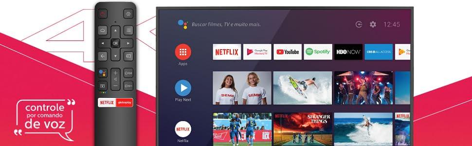 Smart TV, 4K, Controle de voz