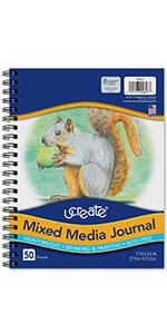 "UCreate Mixed Media Journal, Heavyweight, 11"" x 8-1/2"", 50 Sheets"