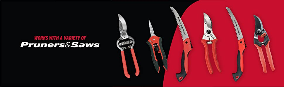 The Universal Nylon Pouch Design works with a variety of pruners and saws