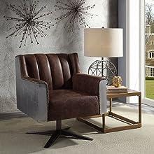 Grain Leather & Aluminum Executive Office Chair