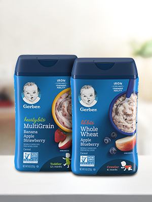 Gerber Lil' Bits & Hearty Bits Cereal nourish with essential vitamins + iron to support development