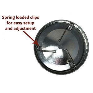 spring loaded clips for easy setup and adjustment