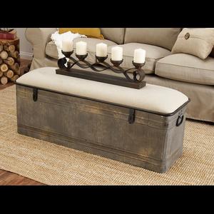 Horse Watering Trough-Inspired Silver Iron Storage Bench w/ Beige Cotton Seat