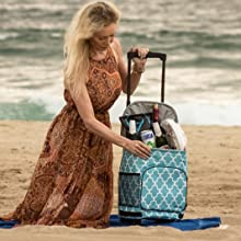 Ultra Compact Cooler Smart Cart dbest products Moroccan Tile beach travel camping park