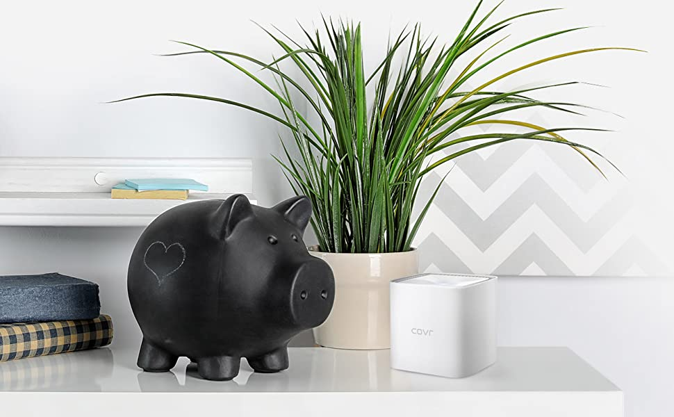 COVR-1102 on a desk by a piggy bank and a plant