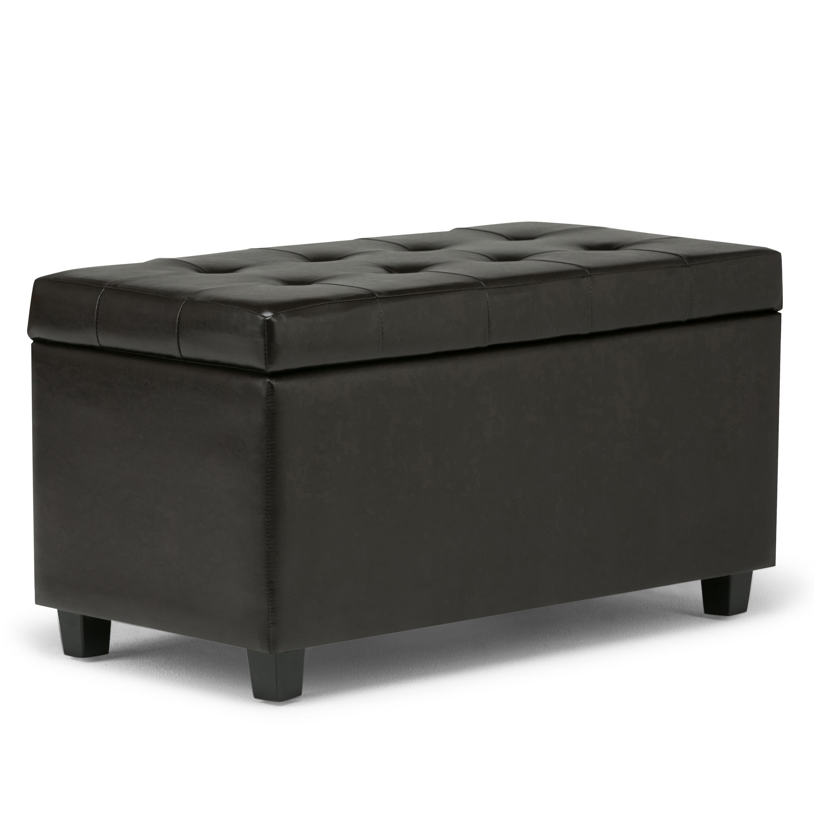 Simpli Home Cosmopolitan Faux Leather Rectangular Storage Ottoman Bench Brown