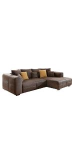 Cavadore Ecksofa Mavericco / Polster Eck-Couch mit Kissen