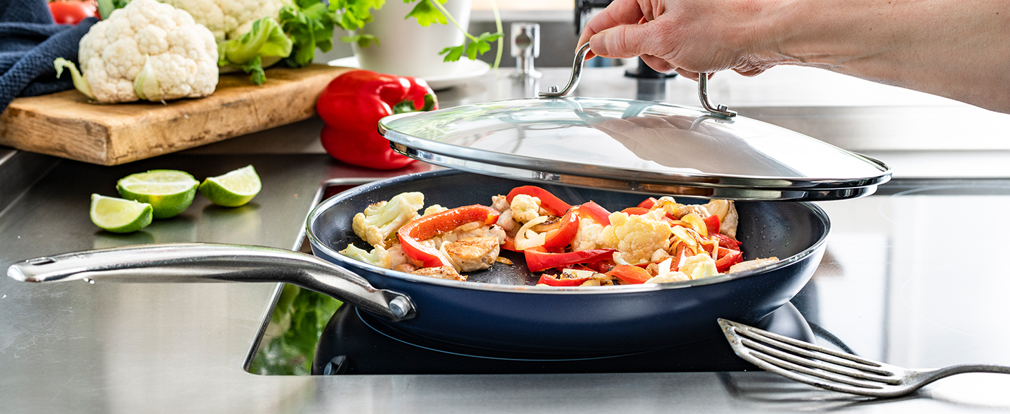 Blue Diamond, frypan, tempered glass lid, ceramic nonstick