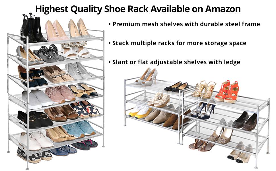 "Shoe Rack Silver 3 Tier Mesh Multi Position Removable Shelf 26.5/""x 12.1/"" x 19.1/"""
