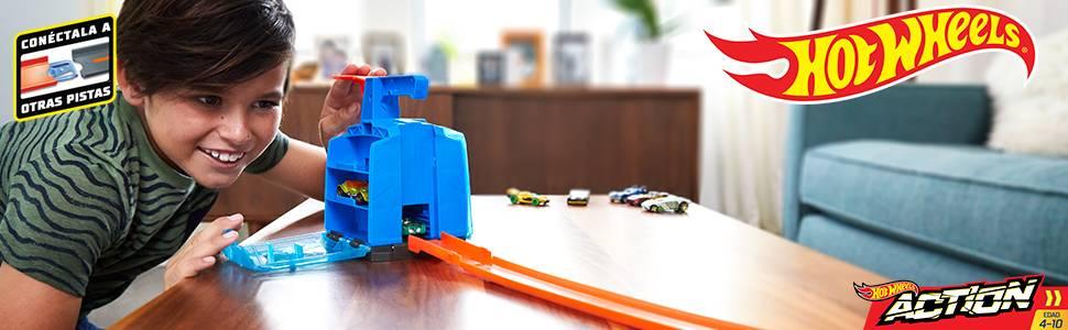 Lanzador de Hot Wheels con capacidad para seis coches de juguete a escala 1:64 para niños de 5 a 10