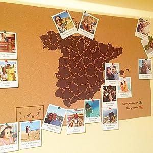 Miss Wood Mapa de España de Corcho, Pino, Marrón, XL-60x90cm: Amazon.es: Hogar