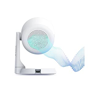 Streams of soundwaves leaving the speaker behind the DCS-8325LH Smart Full HD Wi-Fi Camera