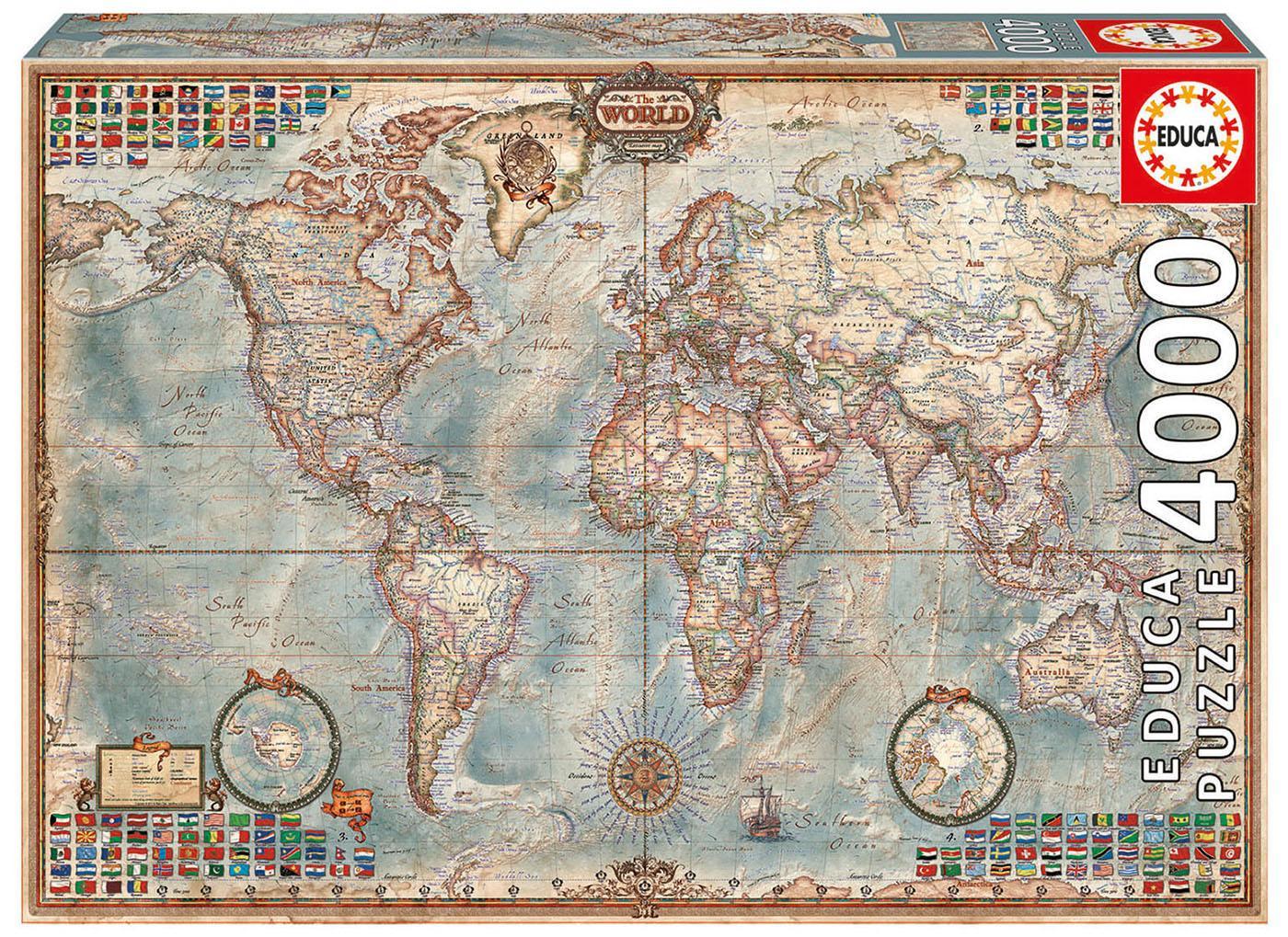 Educa Borras - Genuine Puzzles, Puzzle 4.000 piezas, El mundo, mapa político (14827): Amazon.es: Juguetes y juegos