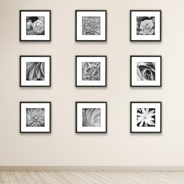 picture hanging template kit - gallery perfect 9 piece black square photo