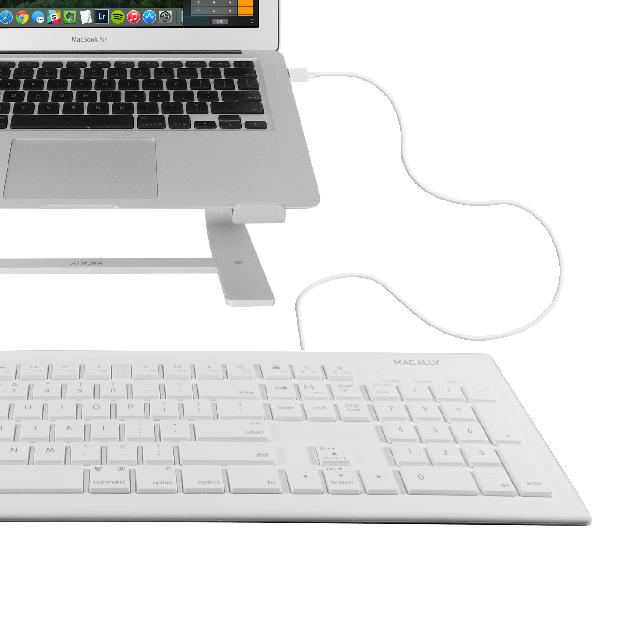 macally full size usb wired keyboard mkeye for mac and pc white w shortcut hot. Black Bedroom Furniture Sets. Home Design Ideas
