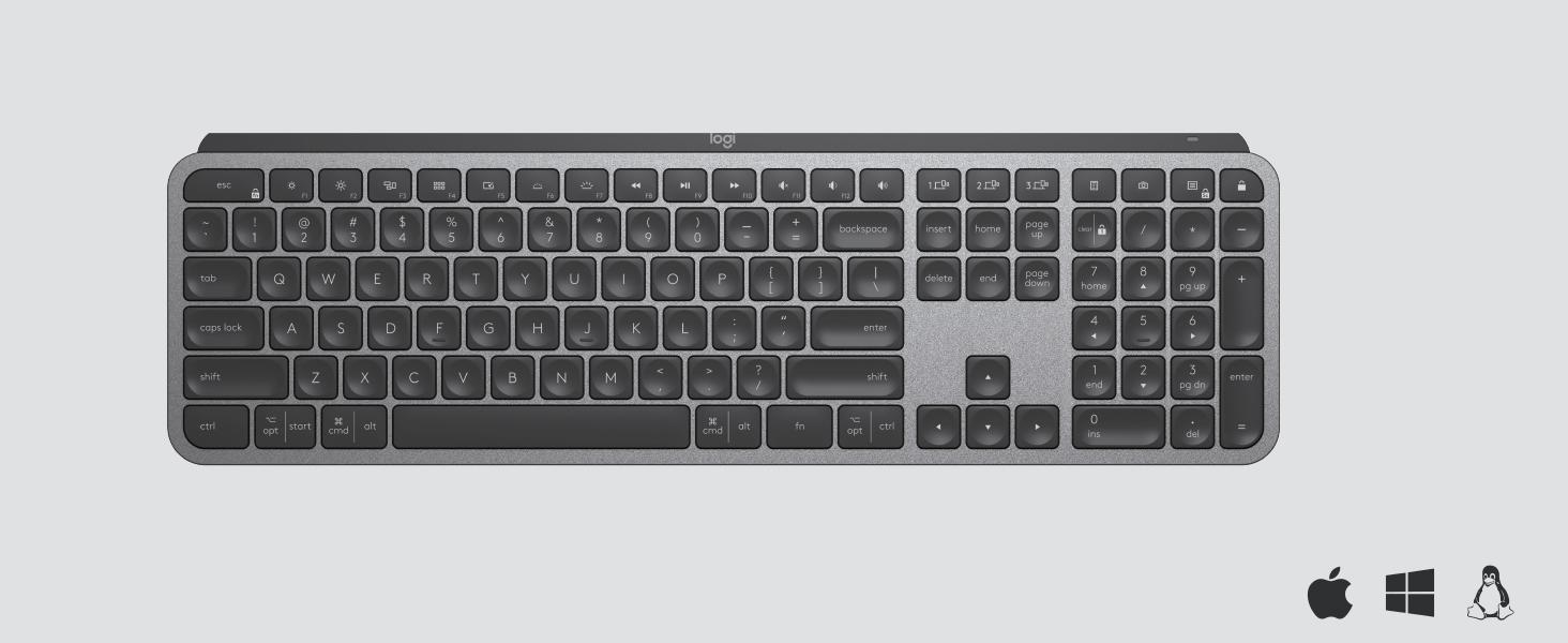Mx Keys Tastiera Wireless Avanzata con Illuminazione Digitazione Reattiva Ergonomico Layout Italiano QWERTY Mac Apple USB-C Wireless Bluetooth Logitech MX Master 3 Mouse 4000 dpi USB