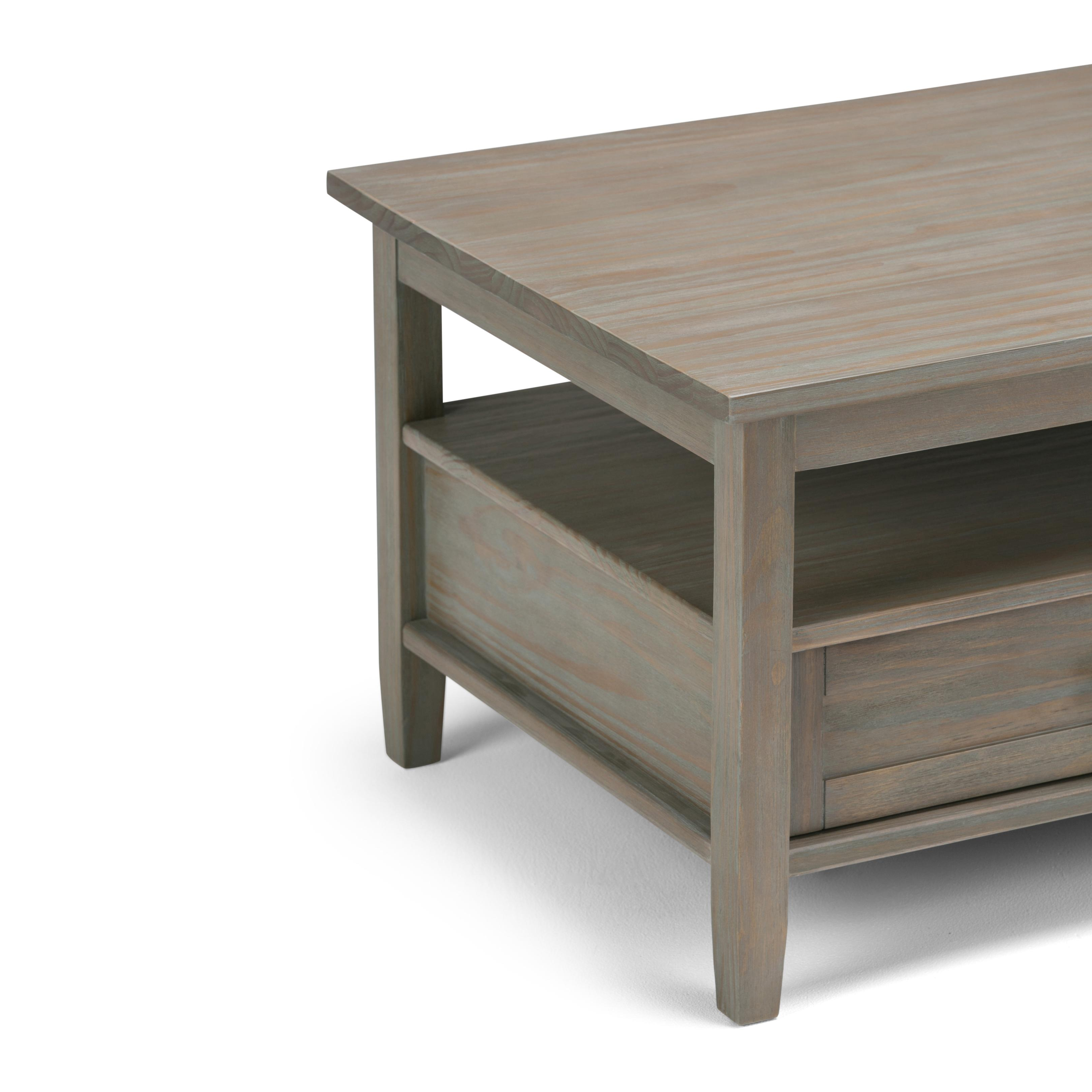 Amazon Linon Titian Rustic Gray Coffee Table Kitchen: Simpli Home Warm Shaker Solid Wood Coffee Table