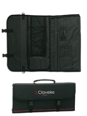 3 Claveles - Estuche Profesional Porta Cuchillos, Lona Rígida Lavable, con Asa para Transportar, hasta 17 Piezas