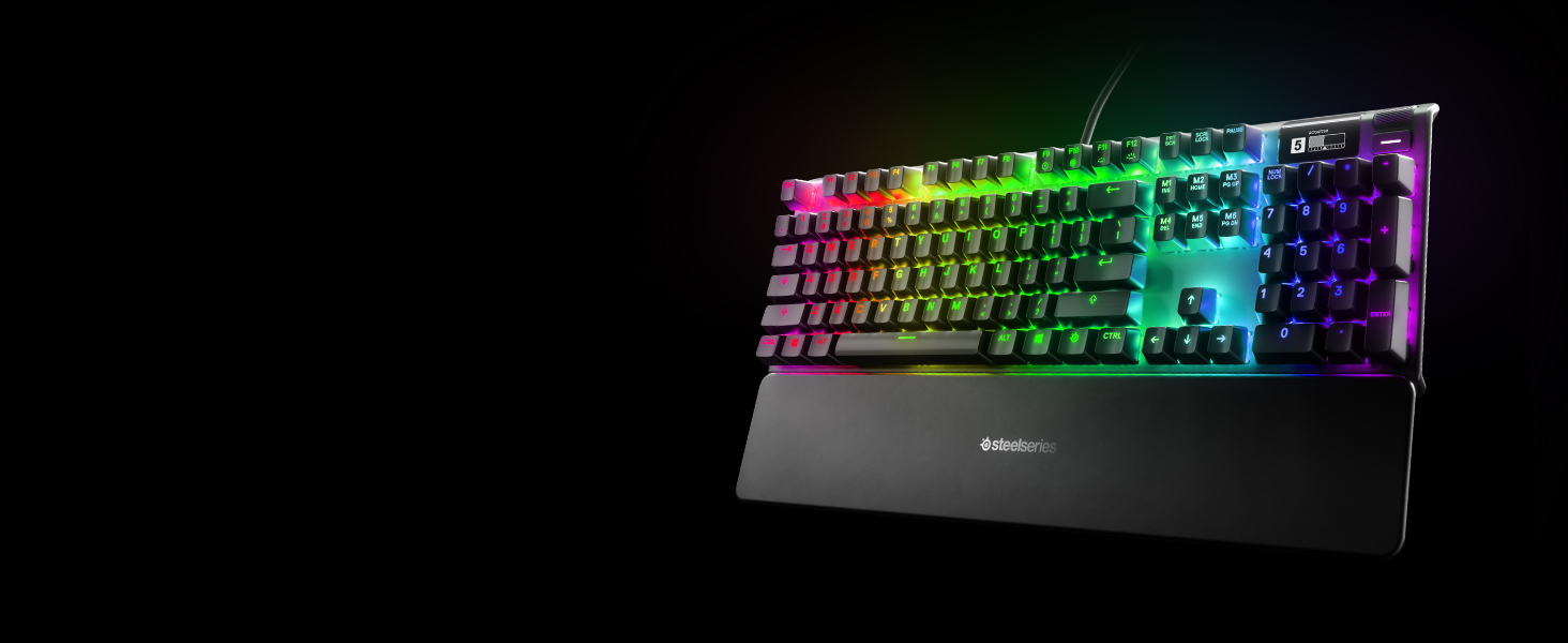 -SteelSeries Apex keyboard with wrist rest
