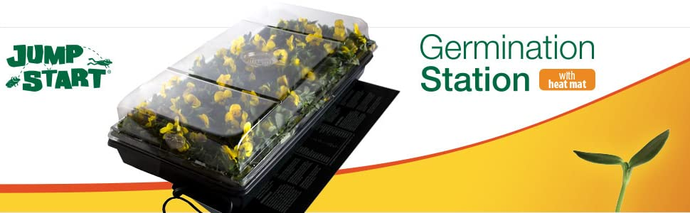 """Germination Station with Heat Mat, tray, 72 cell pack, 2"""" humidity dome"""