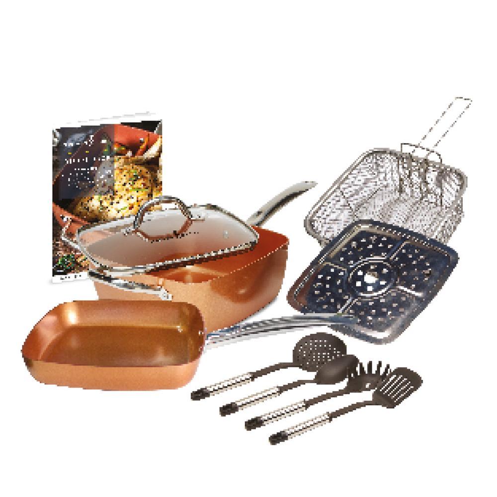 Copper Chef Non Stick Deep Sided Square Pan Kit Copper 9