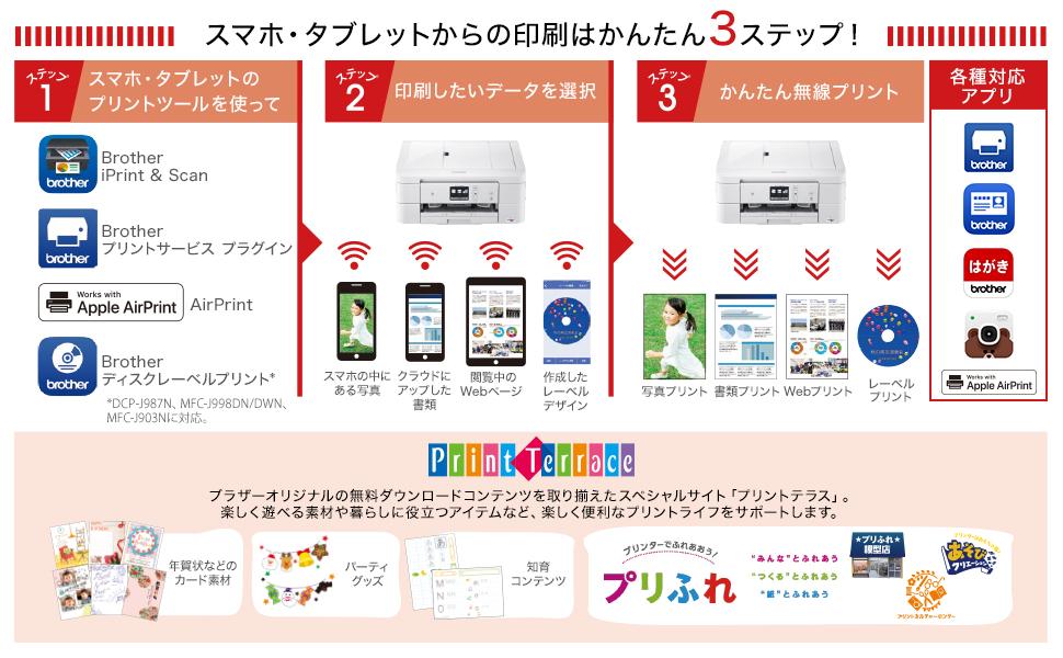 DCP-J987N アプリ、プリントテラス、プリふれ