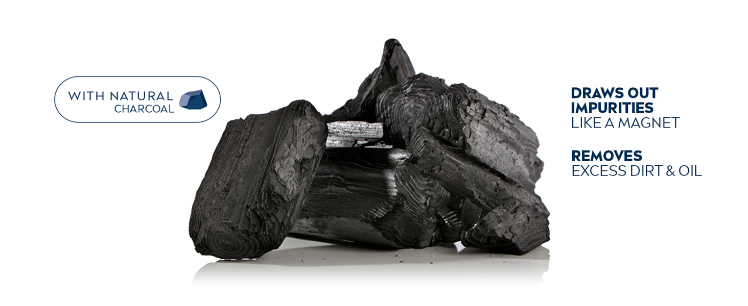 with natural charcoal, removes excess dirt and oil, specially formulated