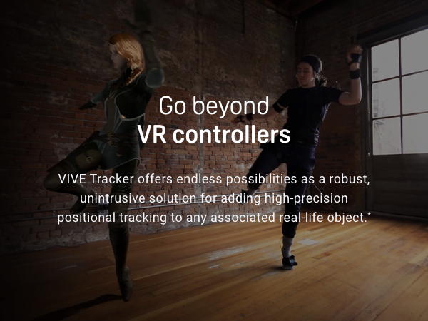 VIVE Tracker hero image with motion tracking of avatar dancing