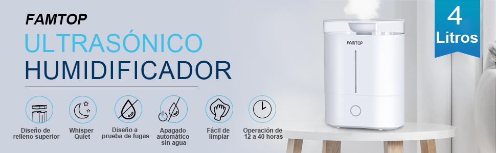 FAMTOP Humidificador 4L Bebé, Humidificador Ultrasónico de llenado superior con 3 Niveles de Humedad Ajustable, Vapor Frío Difusor, Auto-Apagado, ...