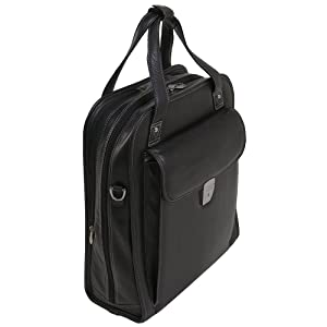 """Black 15"""" Leather Vertical Patented Detachable -Wheeled Laptop Briefcase angled view"""
