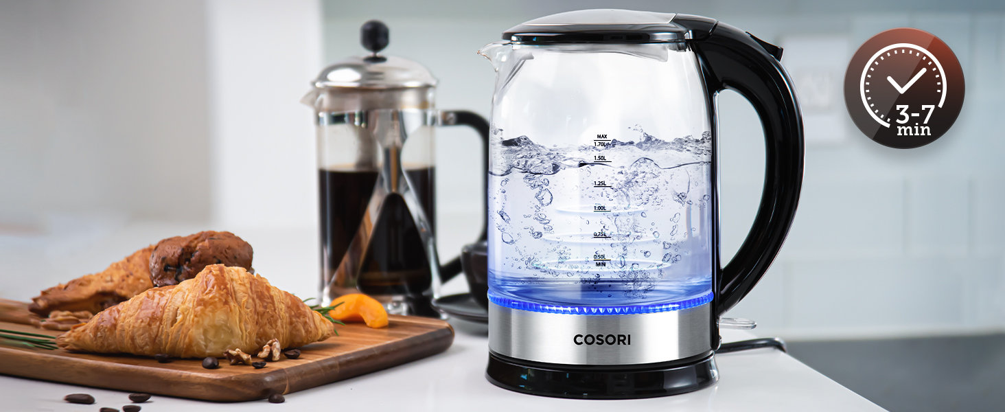 The kettle features a sturdy glass housing, a stainless steel base, and a BPA-free plastic filter