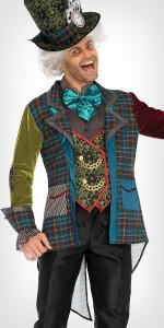 mad hatter, alice in wonderland, mens costume, hat, blazer, jacket