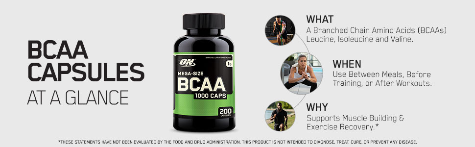 BCAA CAPSULES OPTIMUM NUTRITION BRANCH CHAIN AMINO ACIDS SUPPLEMENT PREWORKOUT POSTWORKOUT BCAA CAPS