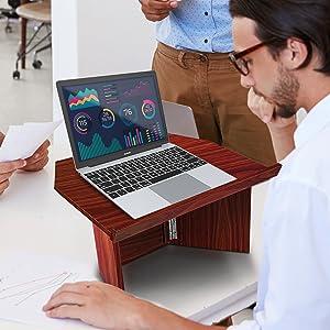 Foldable Desktop Lectern Podium Stand - Portable Folding Tabletop Desk